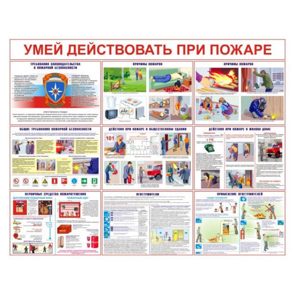 Комплект плакатов  «Умей действовать при пожаре» 10 л