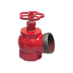Клапан Ду-50 муфта/цапка латунь угловой 90⁰ пож.